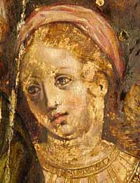 Complex treatment, egg tempera and oilpaint on wooden panel, condition: after conservation and during restoration