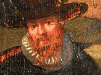 Repainting of a red beard with darker paint on a 17th century panel painting