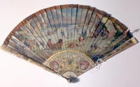 Painted fan, condition: before conservation treatment