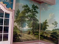 Panoramic wall hanging, oilpaint on relined canvas, condition: after conservation and restoration