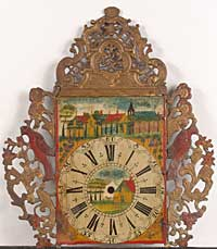 Painted metal clock face, iron and lead, condition: before conservation and restoration